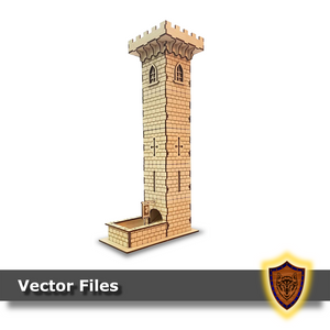 laser cut castle dice tower svg dxf vector files