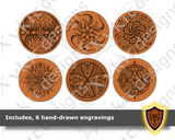 Circle Dice Box with hand-drawn engravings - Vector Files (Digital Download)