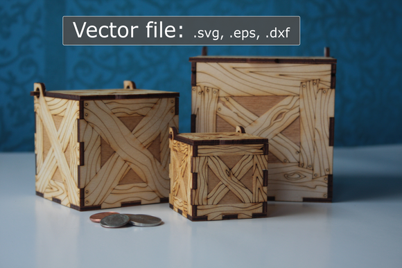 Laser Cut Crates, Set of 3: 100mm, 75mm, 50mm (digital vector files)