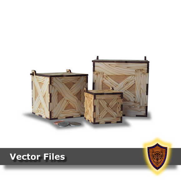 Laser Cut Crates, Set of 3: 100mm, 75mm, 50mm (Digital Download)