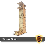 fort themed laser cut dice tower