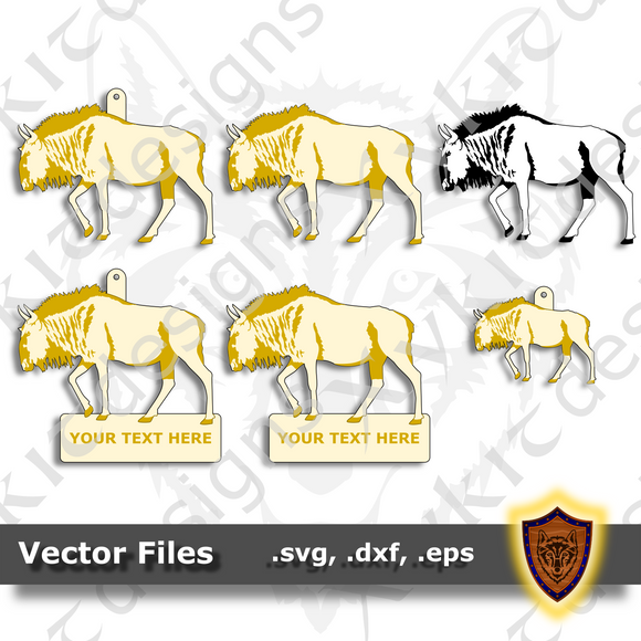 Wildebeest - Gnu - Animal Ornament - Magnet - Key Chain - (SVG, DXF, EPS) Digital Download