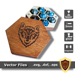 Hexagon Dice Box - with hand-drawn engravings - Vector Files (Digital Download)