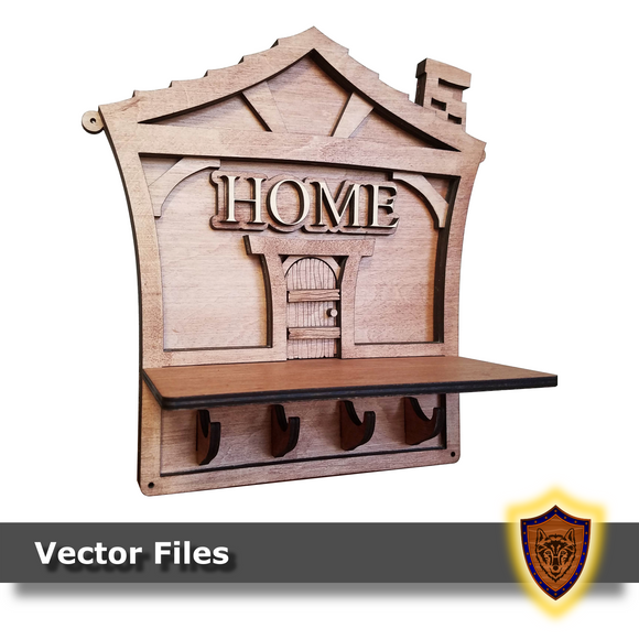 Home Key Holder - Laser Files (Digital Download)