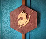 Elven Helmet Wooden Fantasy Wall Art - Elf Bow - Elvish Design - Fiction - Geeky Decor - Man Cave