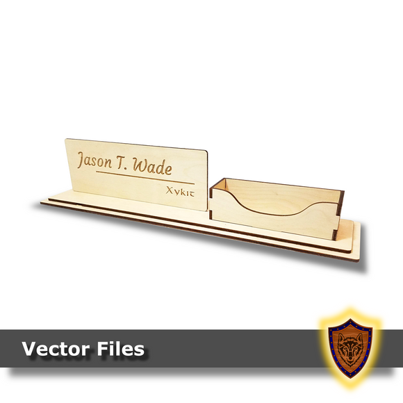 Laser Cut -  Customizable Name Plate and Business Card Holder - (Digital Download)