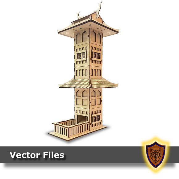pagoda themed dice tower laser files