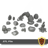 3D Printable Fantasy Rock Arch and scatter rocks - Scatter Terrain (.stl file)