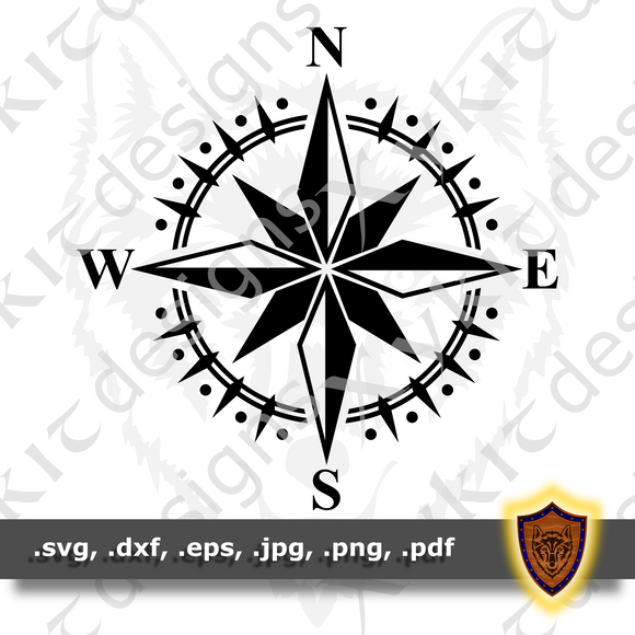 Elegant Compass Rose - Silhouette - Engraving- T-shirt SVG design (Digital Download)