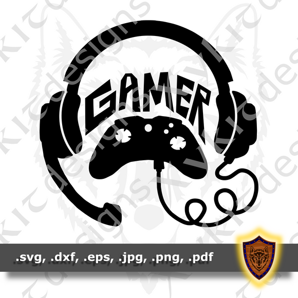 Gamer - Silhouette - Video Games - Vinyl T-shirt SVG design (Digital Download)