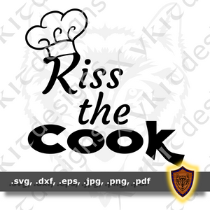 Kiss the Cook - Chef's Apron- T-shirt SVG design (Digital Download)