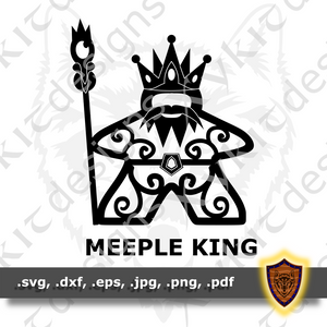 Meeple King - Board Game - Tabletop - T-shirt SVG design (Digital Download)