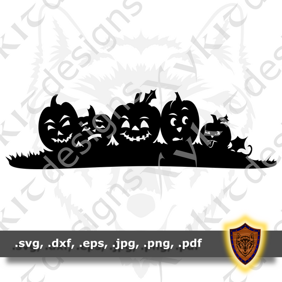 Silly Jack O Lantern - Pumpkin - Silhouette - Engraving- T-shirt SVG design (Digital Download)