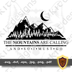 The Mountains are calling - Nature Silhouette - T-shirt SVG design (Digital Download)