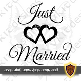 Just Married SVG - Silhouette - Love - Scrapbook - Car Vinyl Sticker (Digital Download)