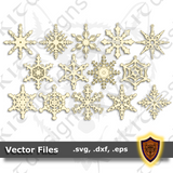 Snowflake Ornaments SVG - 14 designs - Christmas Craft Files - (Digital Download)