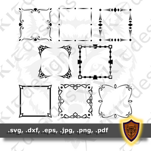Square Borders SVG - Monogram Border - 8 Variants - Craft Files (Digital Download)