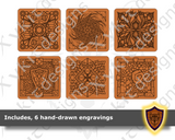 Square Dice Box with hand-drawn engravings - Vector Files (Digital Download)