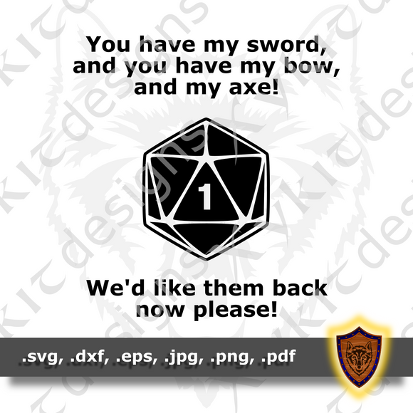Sword, Bow, Axe - DND SVG - Tabletop - T-shirt SVG design (Digital Download)