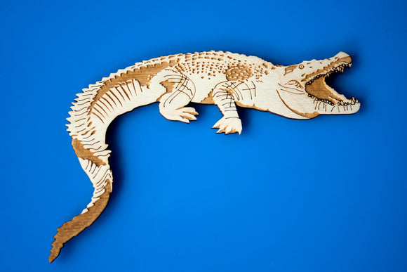 Wooden Crocodile Magnet