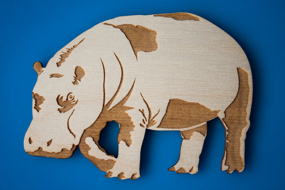 Wooden Hippo Magnet