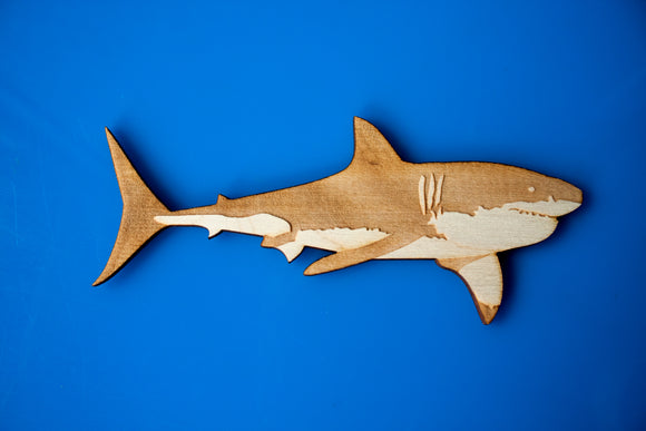 Wooden Great White Shark Magnet