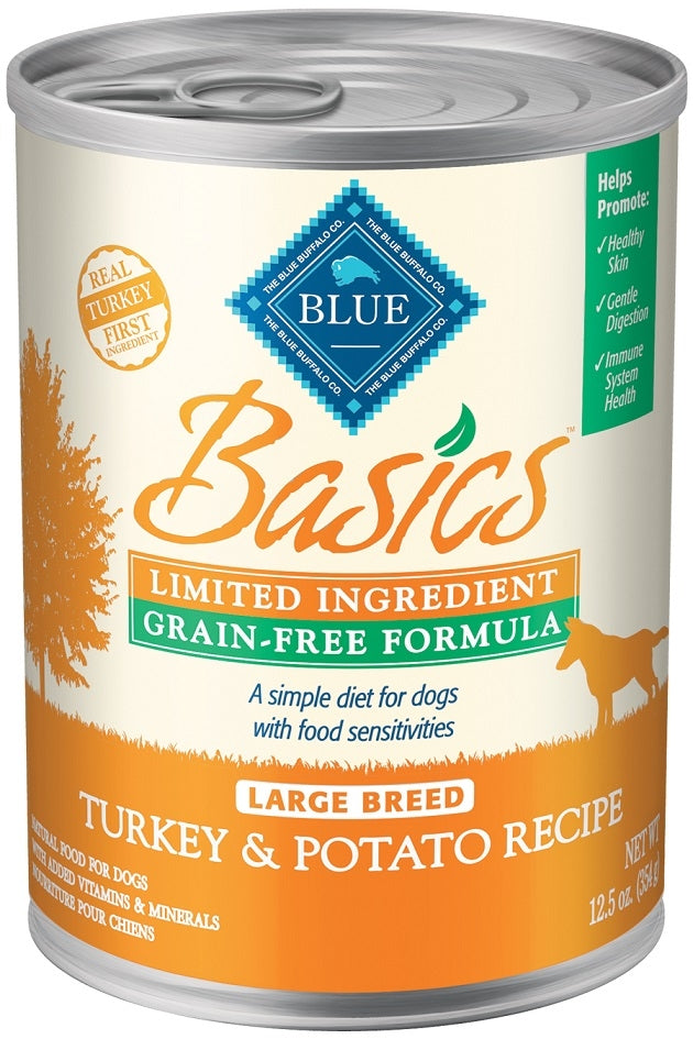 Blue Buffalo BLUE Basics Grain Free LID Turkey and Potato Recipe Large Breed Adult Canned Dog Food