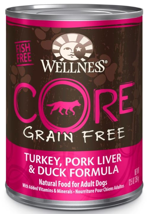 Wellness CORE Grain Free Natural Turkey, Pork Liver and Duck Recipe Wet Canned Dog Food