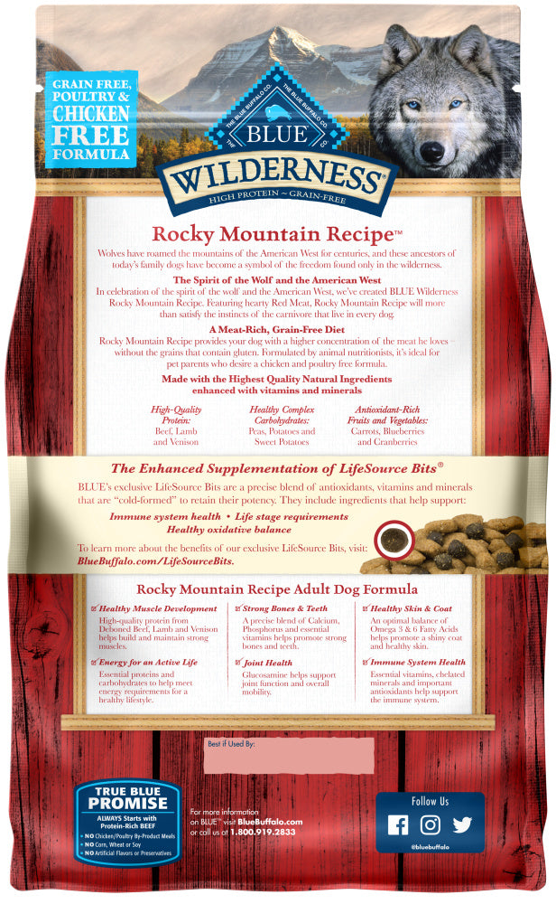 Blue Buffalo Wilderness Rocky Mountain Grain Free Red Meat High Protein Recipe Adult Dry Dog Food