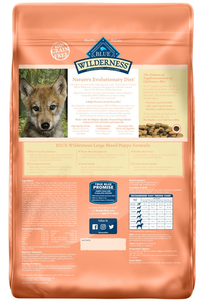 Blue Buffalo Wilderness Grain Free Chicken High Protein Recipe Large Breed Puppy Dry Dog Food
