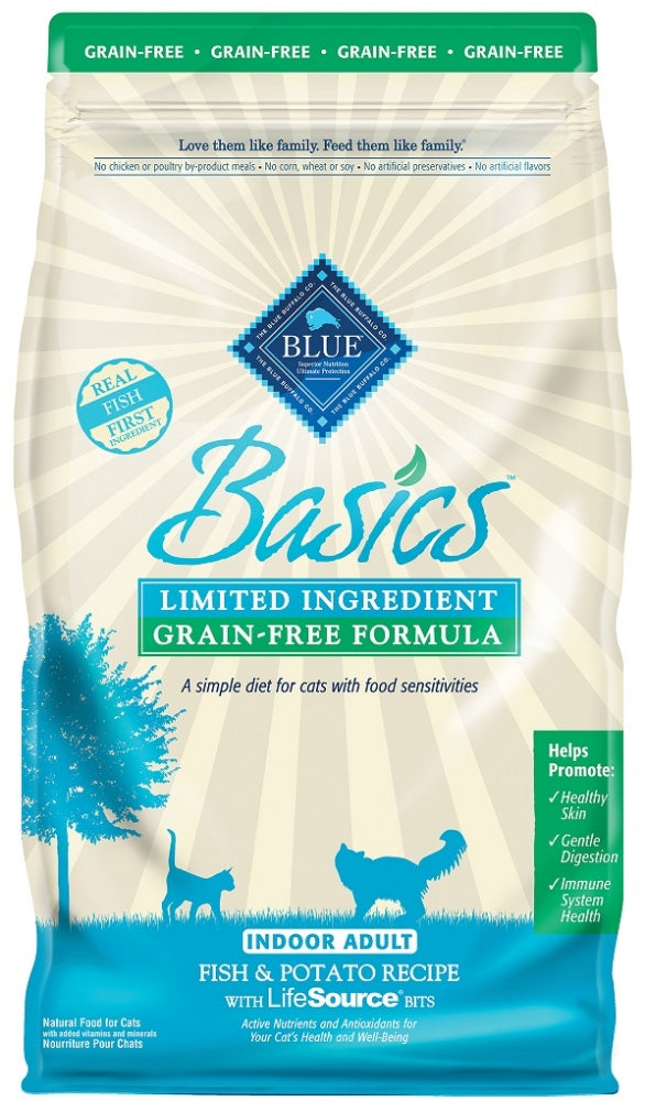 Blue Buffalo BLUE Basics Grain Free Adult Indoor Fish and Potato Recipe Dry Cat Food