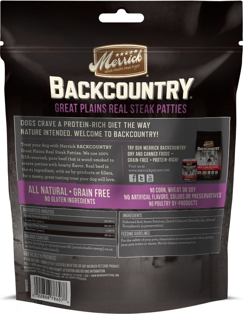 Merrick Backcountry Great Plains Grain Free Real Steak Patties Dog Treats
