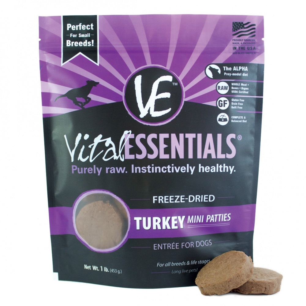 Vital Essentials Freeze Dried Grain Free Turkey Mini Patties Entree for Dogs Food