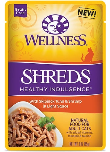 Wellness Healthy Indulgence Natural Grain Free Shreds with Tuna and Shrimp in Light Sauce Cat Food Pouch