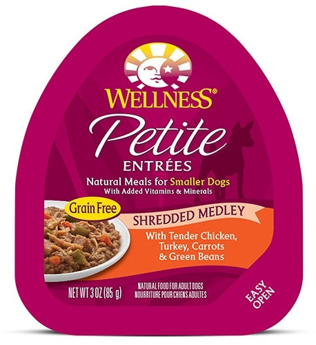 Wellness Small Breed Natural Petite Entrees Shredded Medley with Tender Chicken, Turkey, Carrots and Green Beans Dog Food Tray
