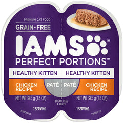 Iams Perfect Portions Healthy Kitten Chicken Pate Wet Cat Food Tray