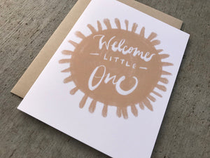 Welcome Little One Card, New Baby Card, Baby Shower Card, Unisex Baby Card, Peach