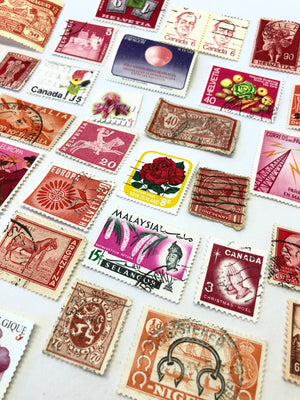 Set of 8 RED Vintage Foreign Postage Stamps, Used Stamps, Postage Stamps, Scrapbooking, Craft Stamps, International Stamps