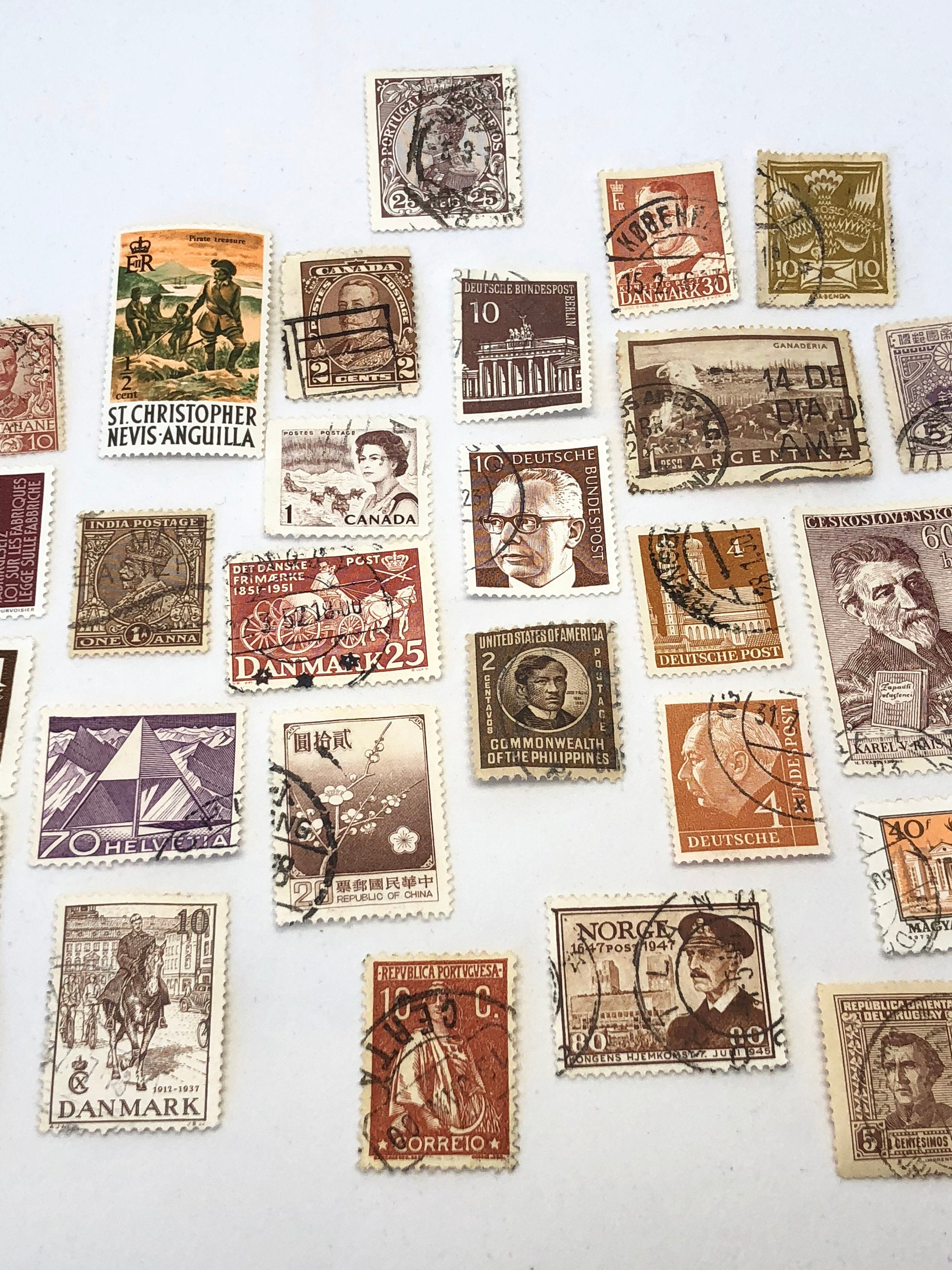 Set of 8 BEIGE Vintage Foreign Postage Stamps, Used Stamps, Postage Stamps, Scrapbooking, Craft Stamps, International Stamps