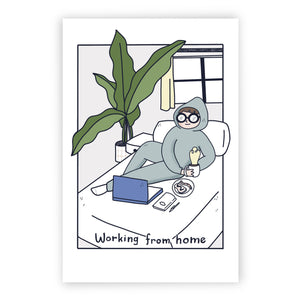 Working From Home Postcard, Work on the bed, Quarantine Love, Social Distancing, Social Distance, Stay Inside, Stay Home, Covid Card