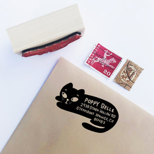 BLACK CAT Custom Return Address Stamp