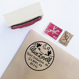DESERT Custom Return Address Stamp - Personalized Hand Illustrated Stamp