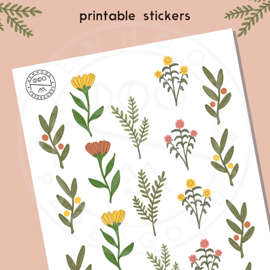 image about Printable Sticker named Flower Pickings Sticker Sheet- Printable Down load