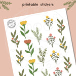 Flower Pickings Sticker Sheet- Printable Download