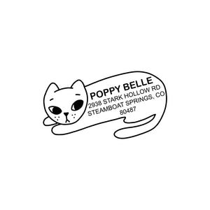 WHITE CAT Custom Return Address Stamp - Personalized Hand Illustrated Stamp