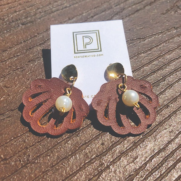 Brown Coral Leather Earrings | Gold Filled