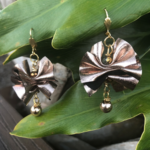 Metallic Brown Earrings | Fabric