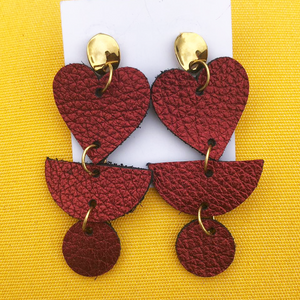 Leather Mix Heart Red Earrings | Gold Filled 14K
