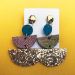 Leather Mix Tornasol Glitter Earrings | Gold Filled