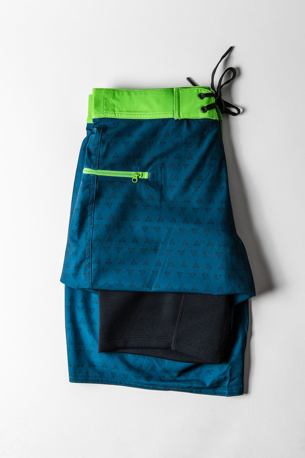 Mens Boardshorts Wetsuit Lined Surf Shorts Drifties A-Frame Blue